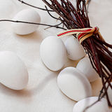 Sugar eggs on linen Royalty Free Stock Photography