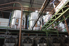 Sugar factory machinery stock image