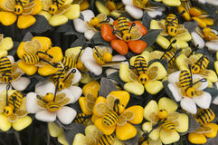 Sugar flowers with bees Stock Image