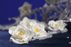 Sugar flowers. Handmade sugar floweres (confectionery products,sugar paste royalty free stock photos