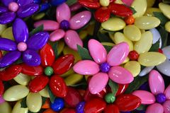 Sugar flowers from Sulmona, called Confetti. Coneftti, flowers from sugared almonds,  a traditional product from Sulmona, in Abruzzo in Italy stock image