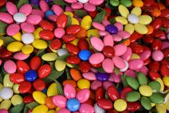 Sugar flowers from Sulmona, called Confetti. Coneftti, flowers from sugared almonds,  a traditional product from Sulmona, in Abruzzo in Italy stock photography