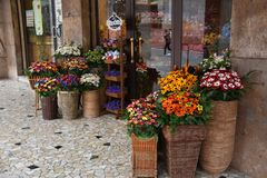 Sugar flowers from Sulmona, called Confetti. A shop with Coneftti, flowers from sugared almonds, a traditional product from Sulmona, in Abruzzo in Italy royalty free stock photography