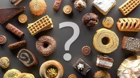 Sugar Food böjelse som bantar begrepp med tecknet 3d för frågefläcken, framför royaltyfria foton
