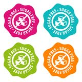Sugar free Badges. Eps10 Vector. Four different colour buttons Stock Illustration