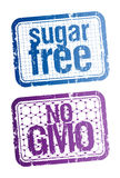 Sugar free and bio food stamps. Stock Images