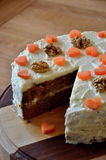 Sugar free carrot cake with wallnuts Stock Photography