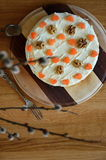 Sugar free carrot cake with wallnuts Royalty Free Stock Image