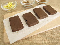 Sugar-free coffee carob chocolate bars Stock Photo