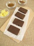 Sugar-free coffee carob chocolate bars Stock Image