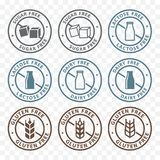 Sugar free, lactose free, gluten free packaging sticker label icons vector illustration
