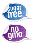 Sugar free and GMO free food stickers Royalty Free Stock Images