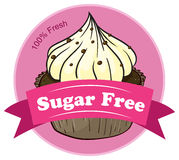 A sugar free label with a cupcake Stock Photos