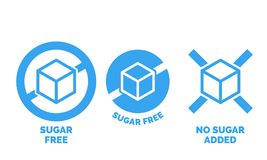Sugar free label vector nor sugar added  package. Sugar free label for no sugar added product package icon design template. Vector blue sugar free food symbol Royalty Free Stock Photography