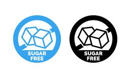 Sugar free label vector nor sugar added  package. Sugar free label. Vector sugar cubes in circle icon for no sugar added product package design Stock Photos