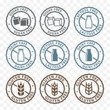 Sugar free, lactose free, gluten free packaging sticker label icons stock illustration