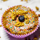 Sugar free muffins. Sugar free muffin with walnut and blueberry Stock Photography