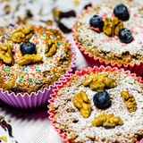 Sugar free muffins. With walnuts and blueberries Stock Photos