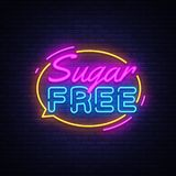 Sugar free Neon Text Vector. Sugar neon sign, design template, modern trend design, night neon signboard, night bright royalty free stock photography