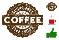 Sugar Free Reward Stamp con efecto del Grunge ilustración del vector