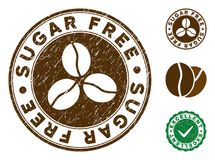 Sugar Free Stamp avec la texture rayée illustration stock