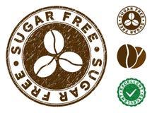 Sugar Free Stamp com textura riscada ilustração stock