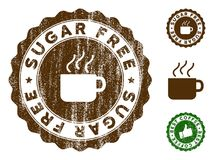 Sugar Free Stamp Seal avec l'effet sale illustration stock
