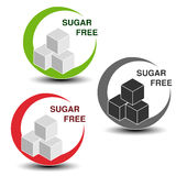 Sugar free symbols  on white background. Silhouettes cubes of sugar in a circle with shadow. Royalty Free Stock Photo