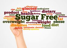 Sugar Free word cloud and hand with marker concept stock photos