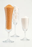 Sugar in glass. A diabetic patient should not eat too much sugar Stock Photo