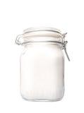 Sugar In Glass Jar granulado V fotos de archivo
