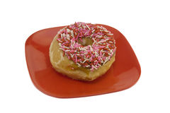 Sugar Glazed Donut with Sprinkles Royalty Free Stock Photo