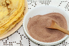 Sugar with grounded cocoa for pancakes Stock Photo