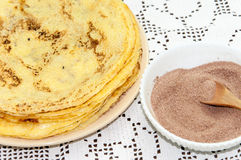 Sugar with grounded cocoa for pancakes Royalty Free Stock Photography