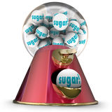 Sugar Gum Balls Candy Dispenser Bubblegum Tooth Decay. Sugar word on gum balls or candy dispensed by a gumball machine offering a sugary snack that will cause Royalty Free Stock Photo