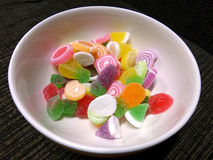 Sugar gummy jelly in a bowl Royalty Free Stock Image