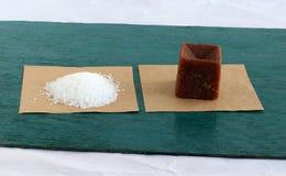 Sugar and Healthy Sweetener Jaggery royalty free stock photo
