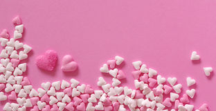 Sugar hearts of pink backround Royalty Free Stock Photography