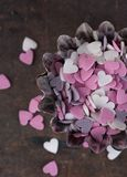 Sugar hearts to decorate pastries Royalty Free Stock Photography
