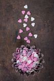 Sugar hearts to decorate pastries Stock Photography