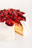 Sugar icing cake with red berries dessert Royalty Free Stock Photo