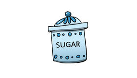 Sugar jar illustration. Sugar jar on white background, illustration Stock Photo