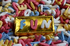Sugar letters fun background Royalty Free Stock Images