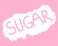 Sugar letters. An illustration of a sprinkle of sugar granules with the word sugar written by a finger on a pink background Royalty Free Stock Photos