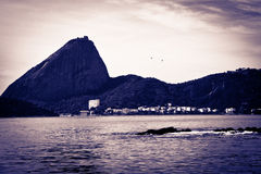 Sugar Loaf from a boat at Baia de Guanabara in Rio de Janeiro Royalty Free Stock Photo