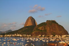 Sugar Loaf and boats anchored - Rio de Janeiro Stock Photography