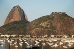 Sugar Loaf, Botafogo-strand en Urca - Rio Royalty-vrije Stock Foto