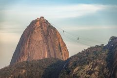 Sugar Loaf and cable cars at sunset - Rio de Janeiro, Brazil. Sugar Loaf and cable cars at sunset in Rio de Janeiro, Brazil Stock Photos