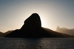 Sugar loaf and Corcovado. In backlit Royalty Free Stock Photography