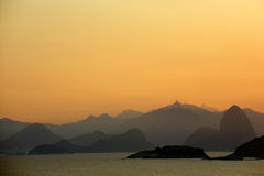 Sugar loaf and Corcovado on the sunset stock photo